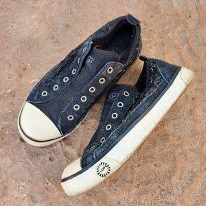 UGG Laela Black Sequin Sheepskin Sneakers